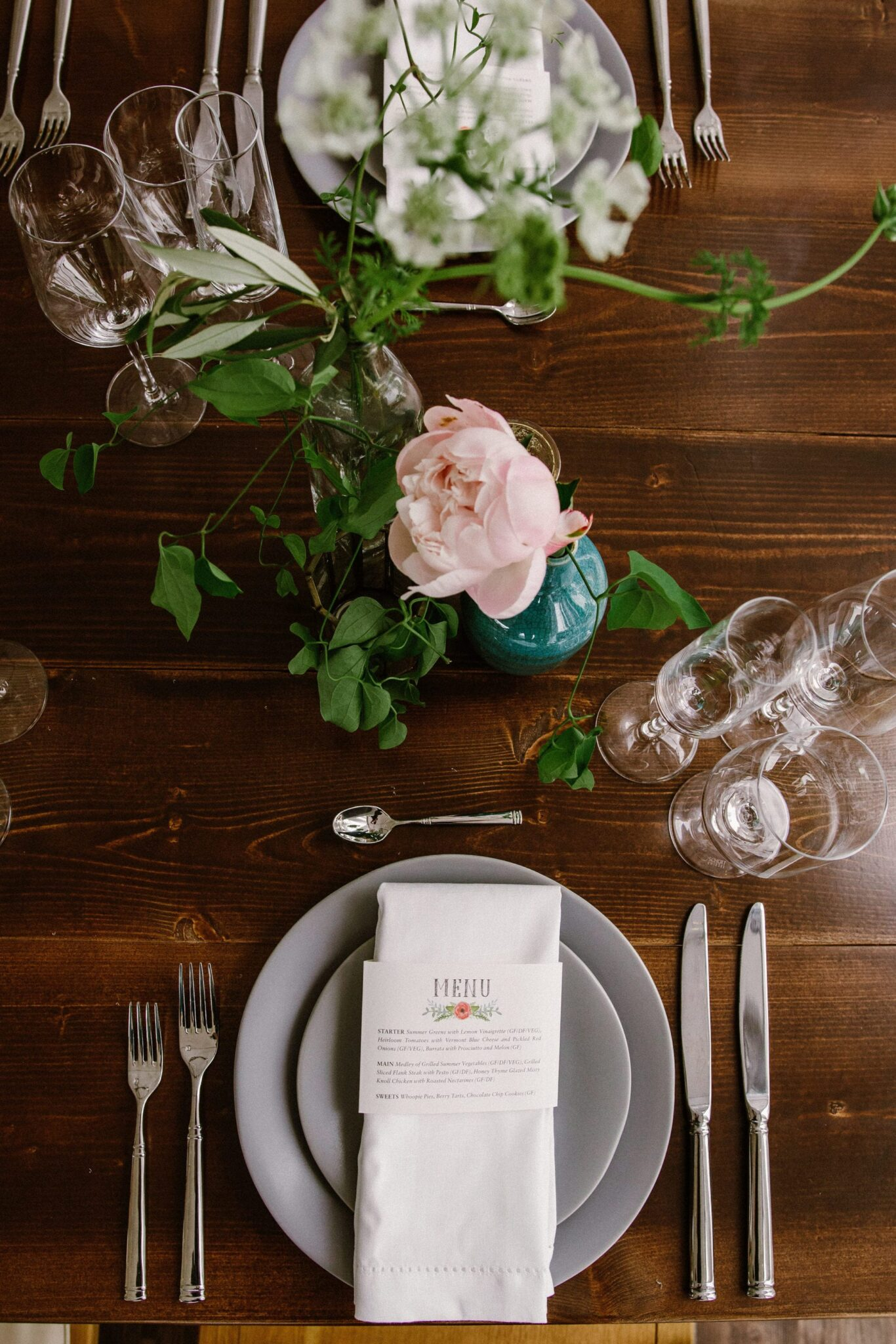 A Starry Night in New England Luxury Wedding farm to table grey plated dinner