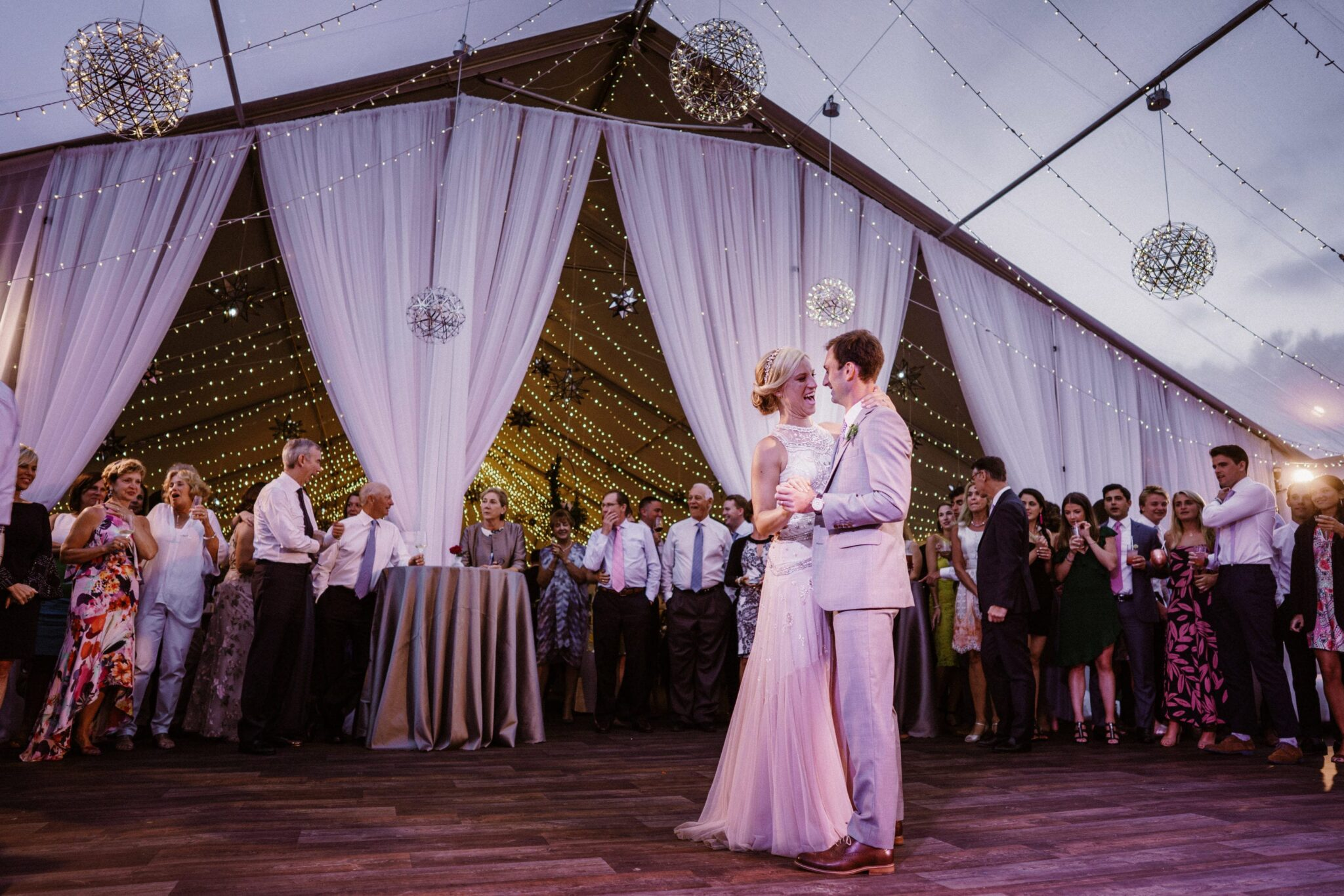 A Starry Night in New England Luxury Wedding planning and draping installation