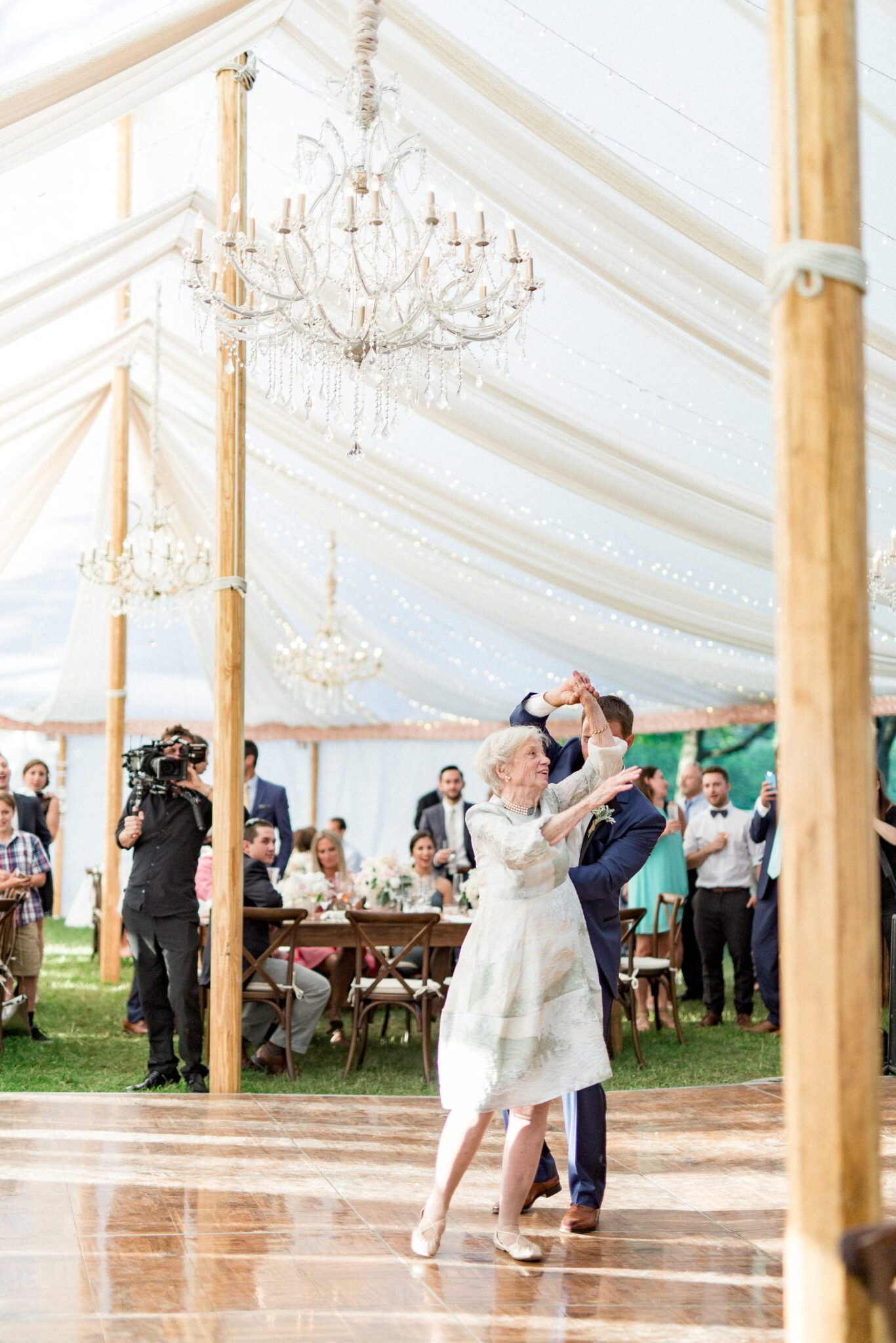 Glistening Chandelier luxury new England wedding jaclyn Watson Events