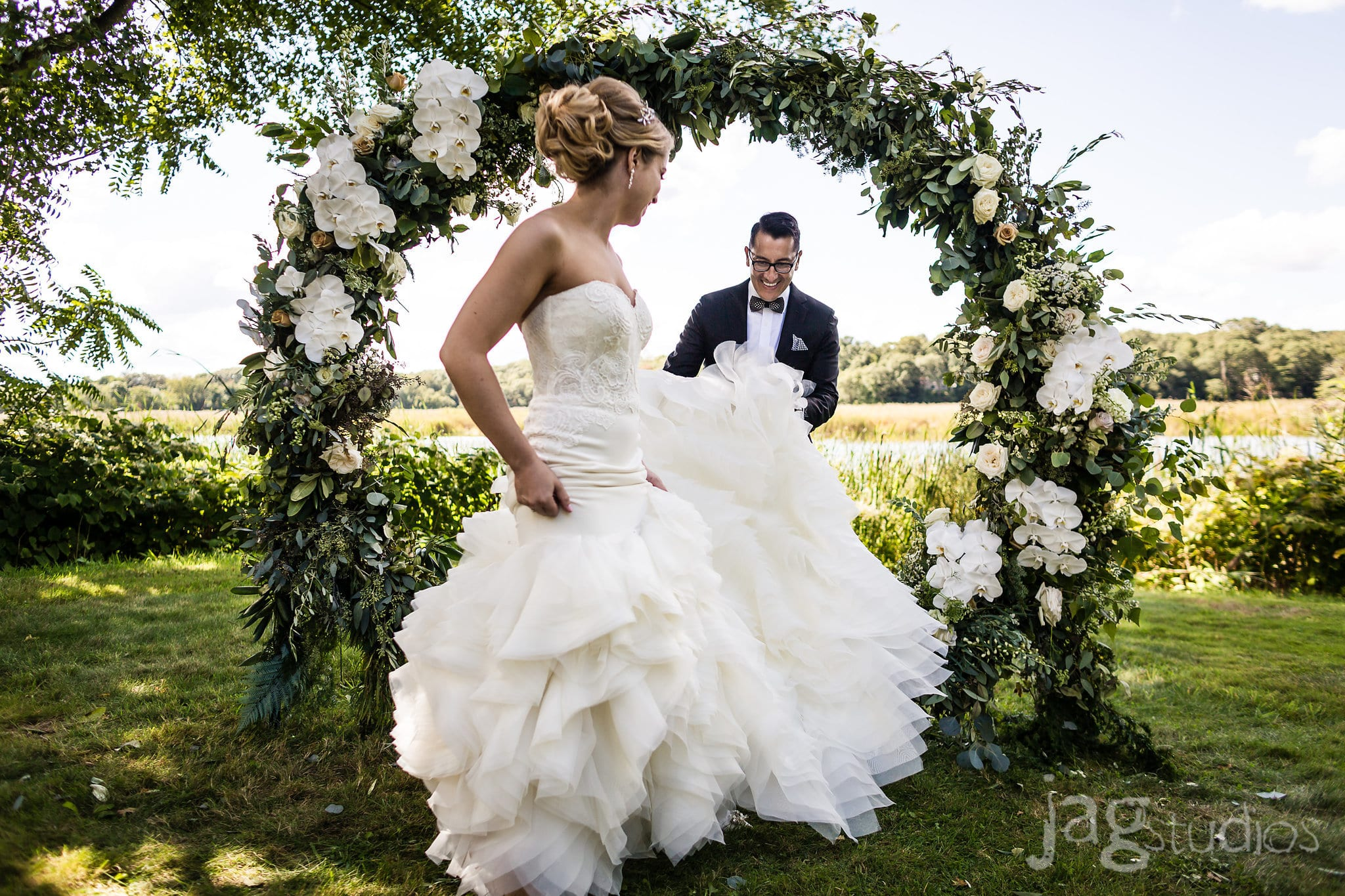 A Midnight's Summer Dream floral orchid arch luxury New England Wedding Jaclyn Watson Events