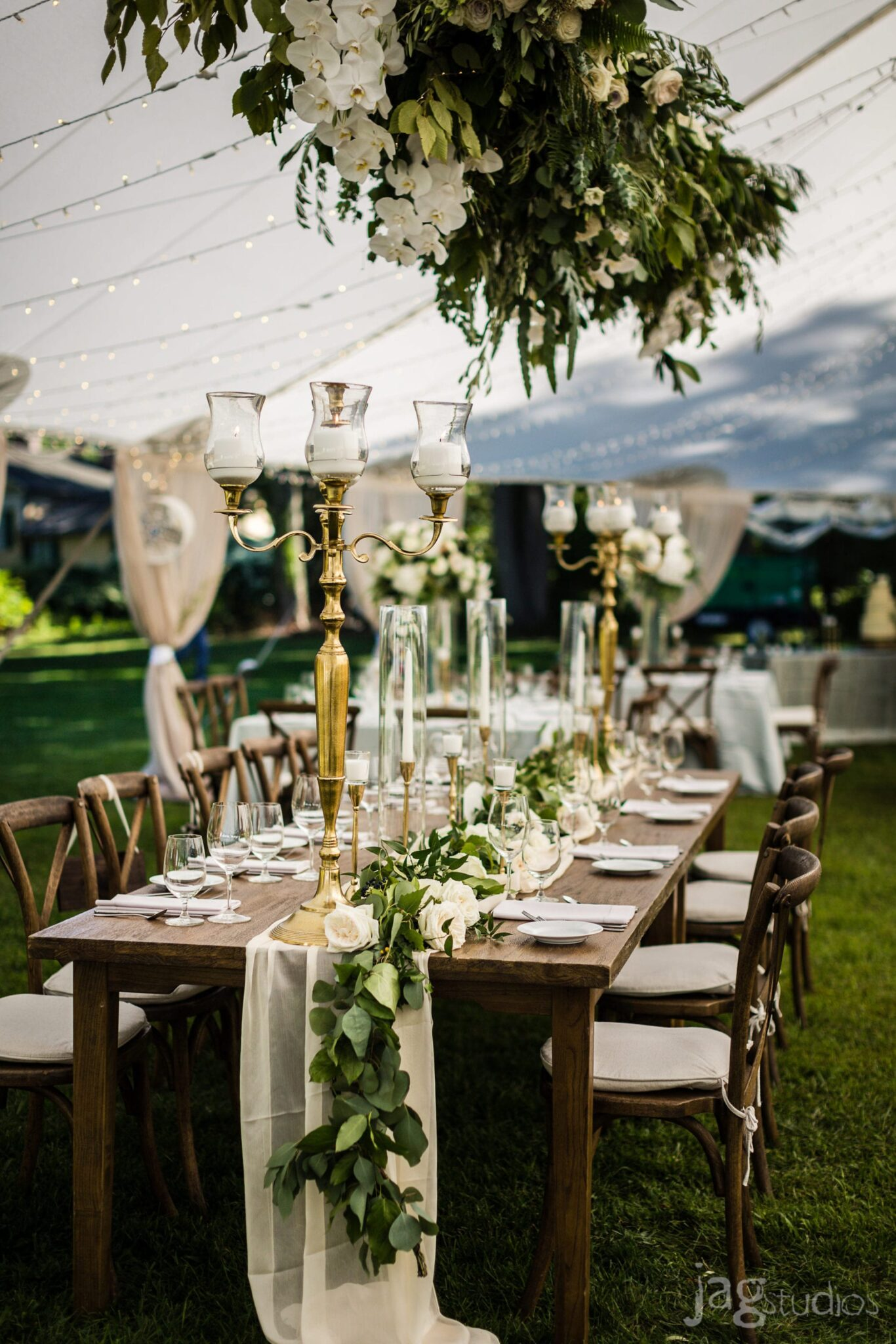 A Midnight's Summer Dream hanging orchids luxury New England Wedding Jaclyn Watson Events
