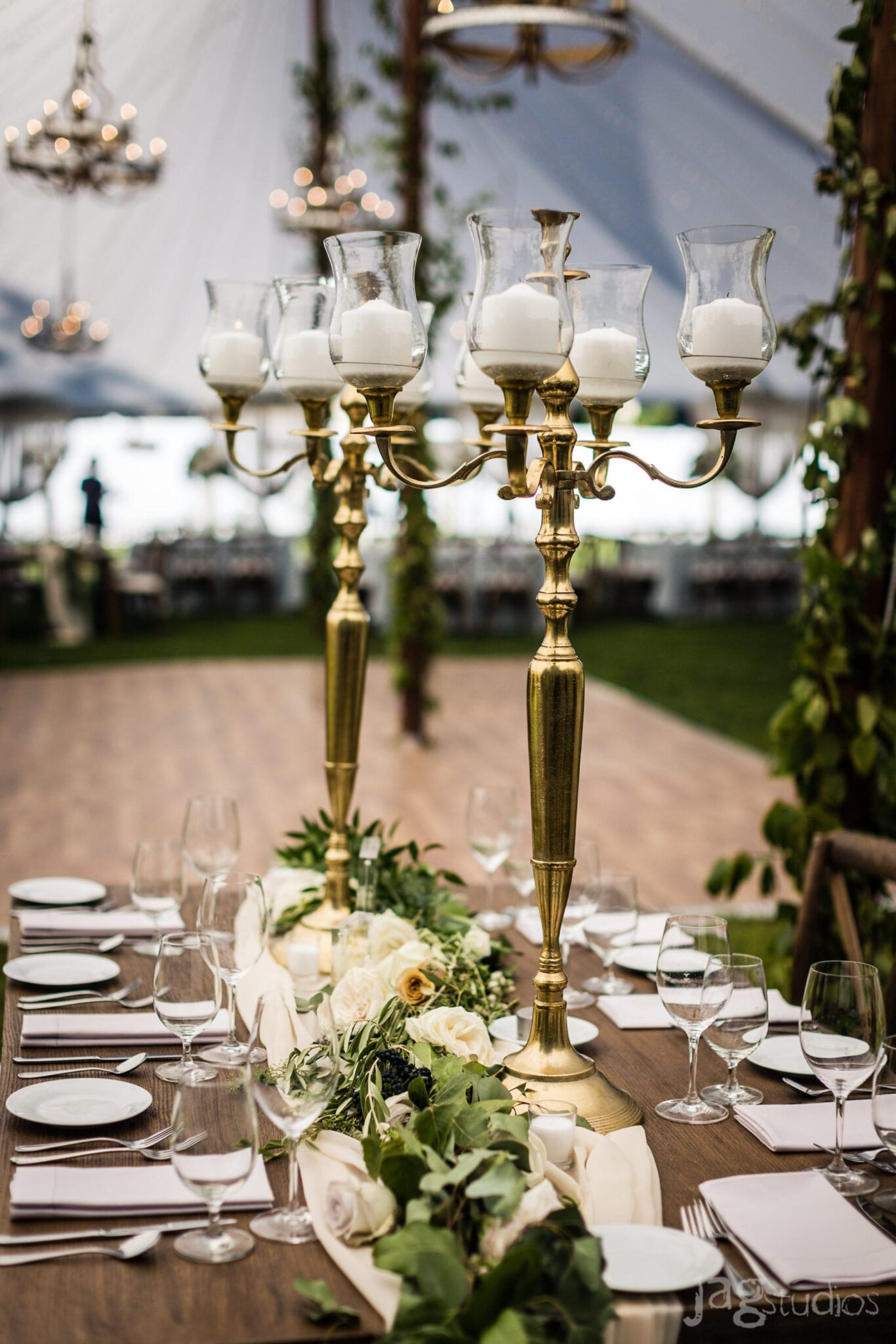 A Midnight Summer Dream gold chandeliers luxury New England Wedding Jaclyn Watson Events