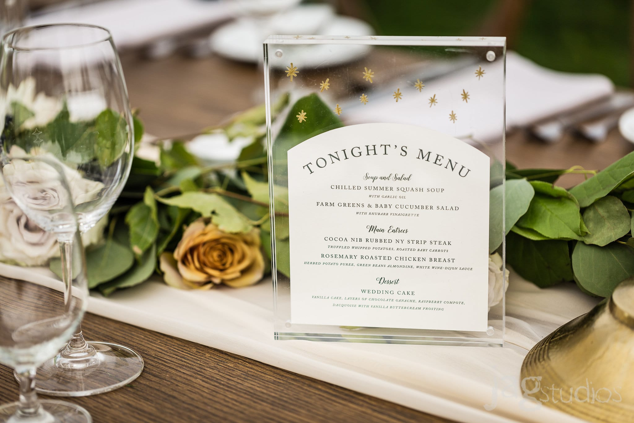 Midnight Summers Dream Wedding inspiration clear glass menu