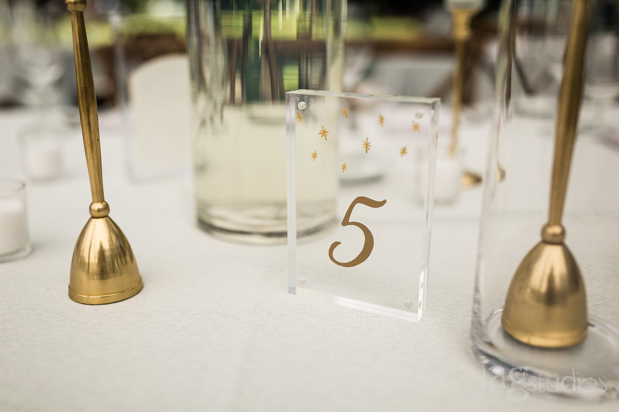 A Midnight Summer Dream glass table numbers luxury New England Wedding Jaclyn Watson Events