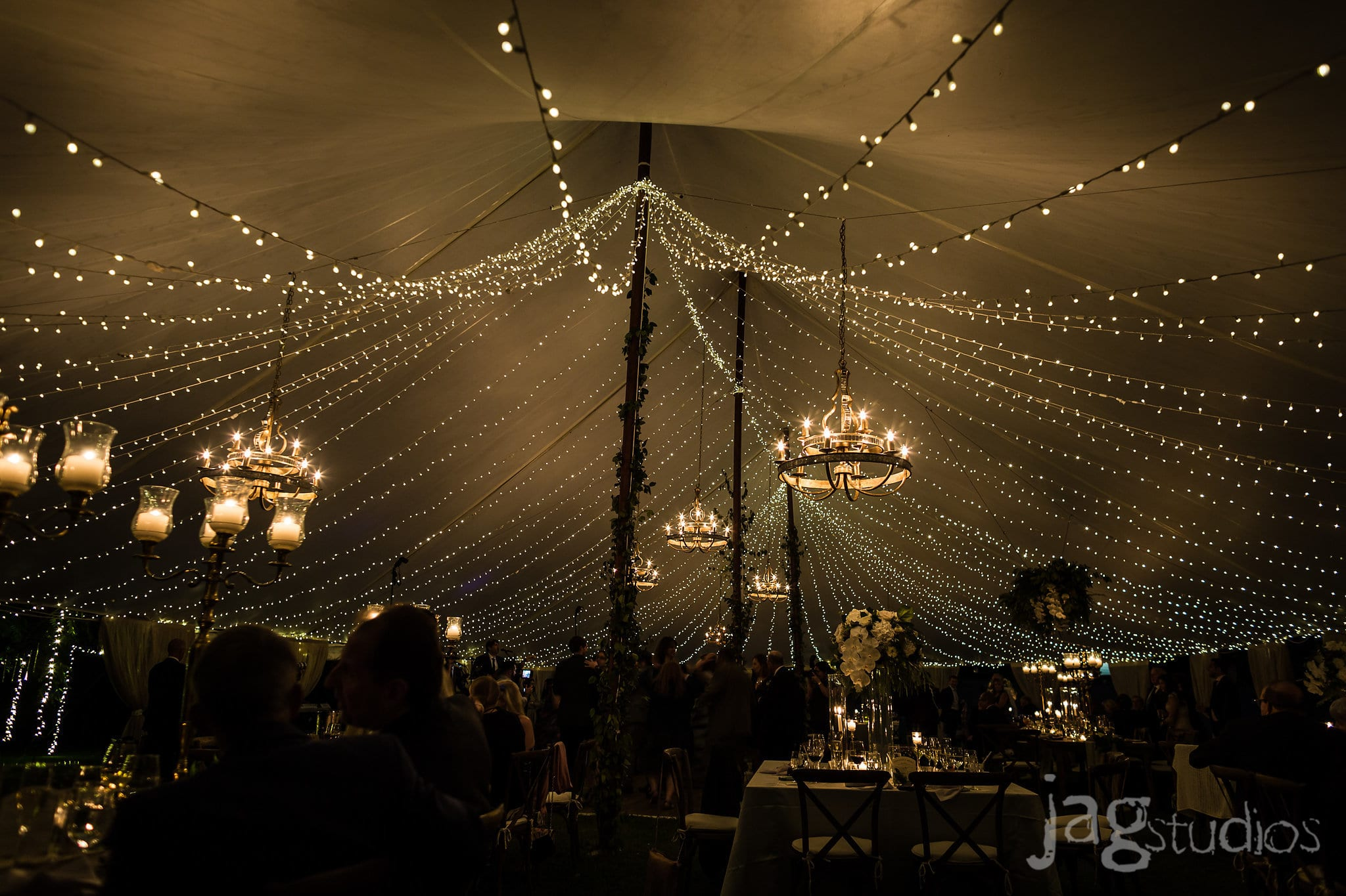 A Midnight Summer Dream lighting installation luxury New England Wedding Jaclyn Watson Events
