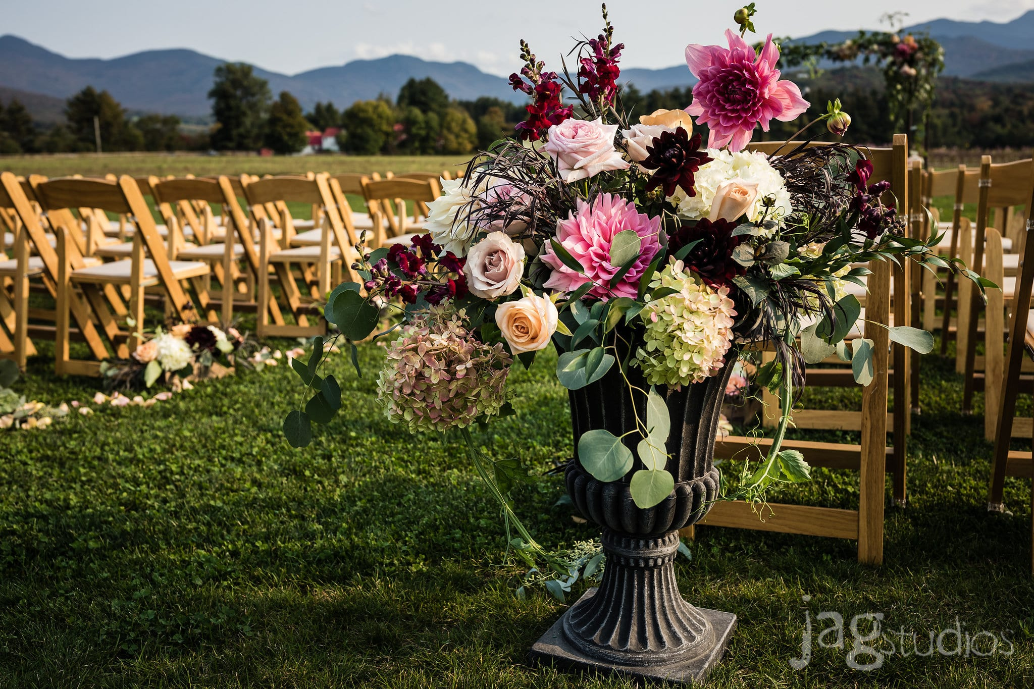 Old World Luxury Wedding the Barn at Smuggs Lush Floral Arrangement