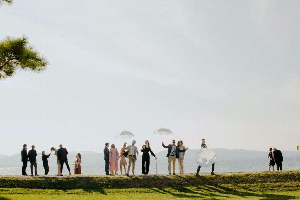 Jaclyn Watson Events •VT FL NYC wedding planner• ModernLakefront Wedding•Wedding umbrellas