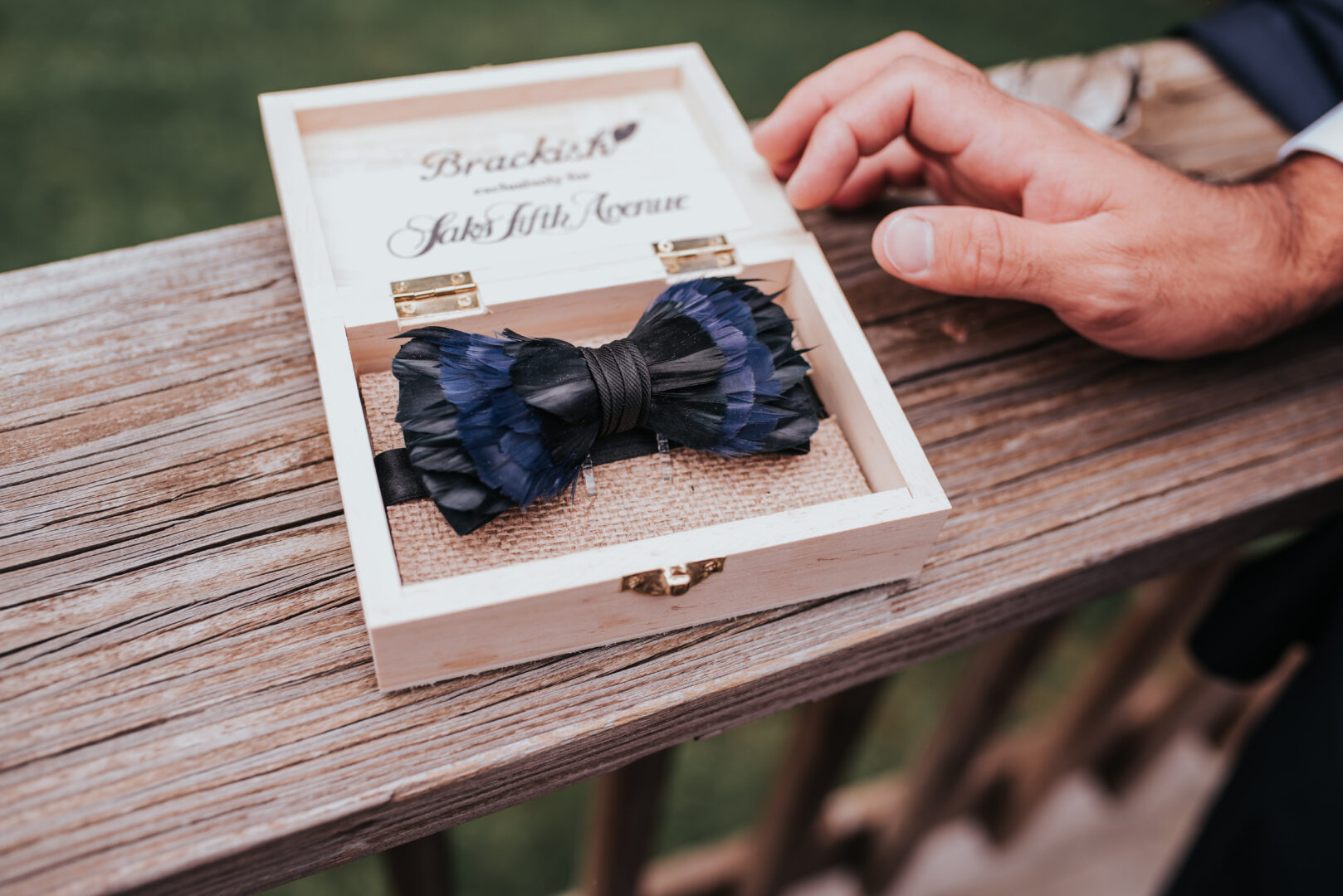 Brackish blue and black bow tie