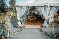 Jaclyn Watson Events • blue chiffon tent draping entrance •New England wedding planner