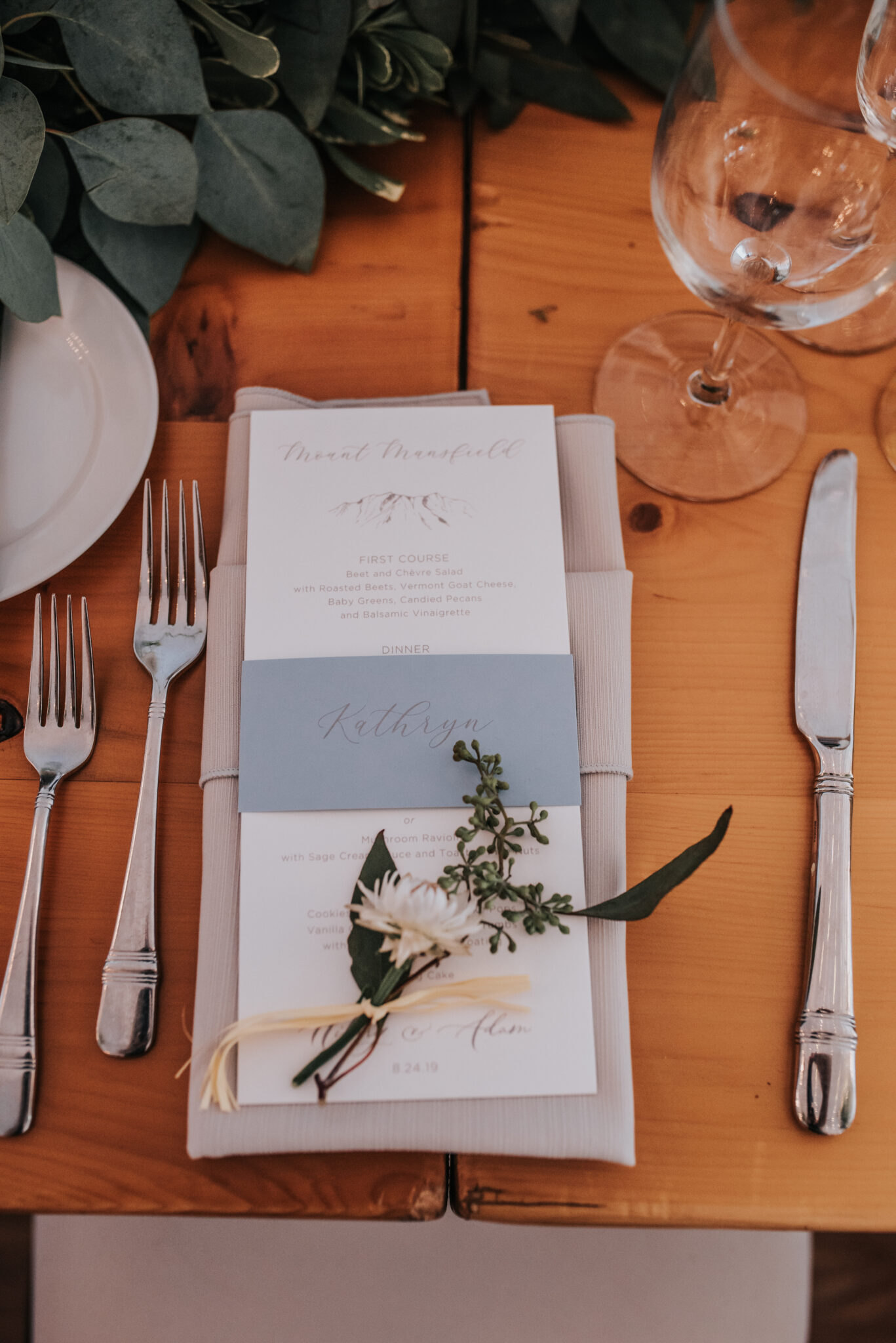 Jaclyn Watson Events •-blue wedding menu belly band-Vermont wedding planners